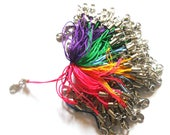 100 pcs Assorted colors mobile phone straps with lobster clasps findings