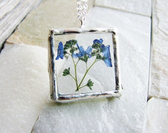 Forget Me Not Soldered Glass Necklace, Blue Flowers Necklace, Framed Glass Pendant Necklace, Pressed Flowers Necklace, Soldered Jewelry