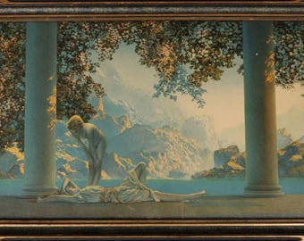 Vintage Original MAXFIELD PARRISH Print - Daybreak 1922 - Authentic in Wood Frame - House of Art NY