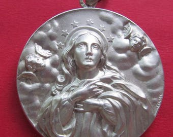 The Assumption Of The Virgin Mary With Angels Antique Silver Religious Medal Catholic Pendant  SS61