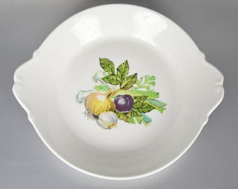 Limoges Au Gratin Dish Onions Garlic Vegetable Design Hand Painted Aluminite