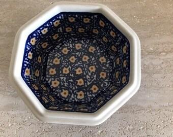 vintage Boleslawiec polish pottery Octagon Serving Dish Bowl Blue Yellow