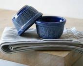 Set of two wheat motif snack bowls - glazed in ocean blue