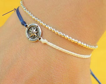 Sterling Silver Compass charm bracelet. Mens bracelet.Womens bracelet