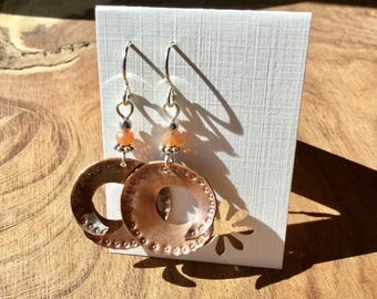 Torched, punched, spiral copper earrings.