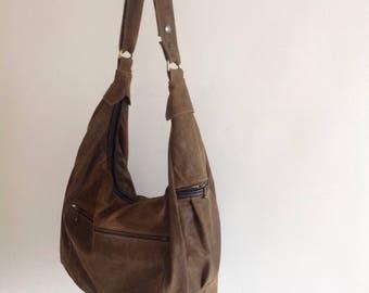 SALE, 50 Percent Off, Fall Discount, Big Leather Shoulder Bag- Crossbody, Slouch, Hobo, Laptop Purse-The Ella
