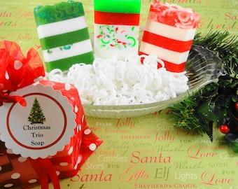 Christmas Soaps - Christmas Scents Sample Sack of Soaps -  Glycerin Soap - Handmade Soap - Holiday - Artisan Soap