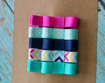 Pink/Teal/Navy Clippie Set - Set of 5 Clippies