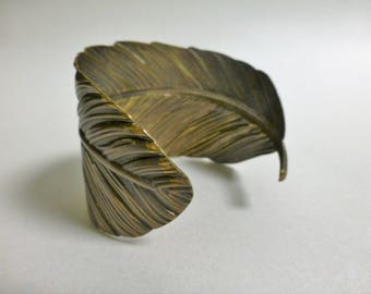 Brass Feather Cuff Bracelet