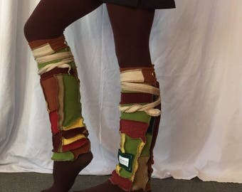 Autumn leaves2 soft wool legwarmers bootcovers upcycled wool ooak