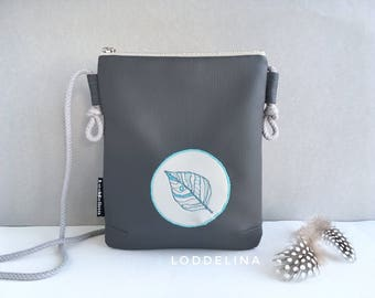 Crossbody bag small zipper purse in dark grey vegan leather with teal blue embroidery