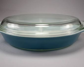 PYREX Horizon Blue, Oval Divided Casserole Dish with Lid, 1 1/2 Quart, Replacement, 1970 to 1972