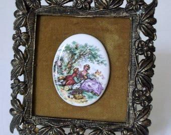 Vintage Framed Fraganard Cameo..Ornate Metal Framed Cameo..Artist Signed Cameo..Tarnished Patina Frame