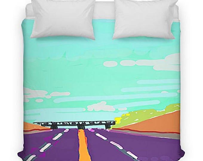 Bed in a Bag, Duvet Cover, Throw Pillow, Shower Curtain, Weekender Beach Bag, Zipper Pouch, Roadtrip Design, Personalized Gift, Bedding set