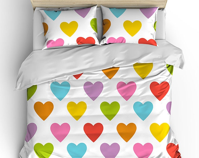 Bedding Duvet Set, Rainbow Hearts Bed Decor, Girl's Room Decor, Dorm Decor, Graduation Gift, Teen Birthday Gift, Summer Bedding, Love Duvet