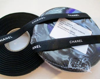 Chanel Ribbon - Authentic - Black with White Letters - 1 Yard - (3  feet)