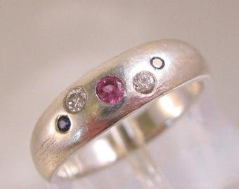 XMAS in JULY SALE Ruby Diamond Sapphire Sterling Silver Ring Size 3.25 Custom Made Vintage Jewelry Jewellery