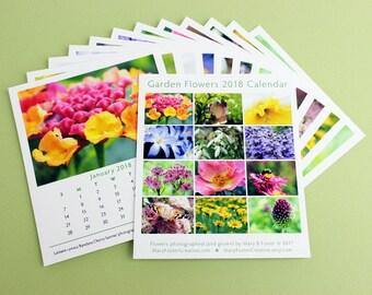 2018 Calendar Garden Flower Photography, loose leaf calendar refill for cd case easel, photo floral art monthly wall calender, office decor
