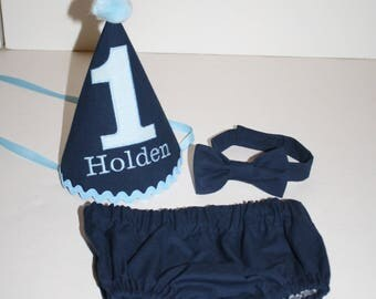 sweet baby boy cake smash outfit boy first birthday outfit navy blue baby blue personalized 1st birthday hat suspenders diaper cover bow tie