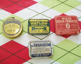 4 Vintage Tins, Decor, Hill's Cold Tablets tin, Watlow auto fuses tin