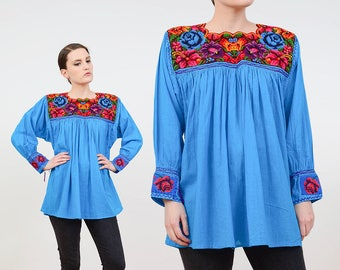 70s Blue Guatemalan Blouse | Floral Tapestry Cotton Gauze Peasant Top | Hippie Long Sleeve Shirt | Boho Embroidered Mexican Tunic Top | M L