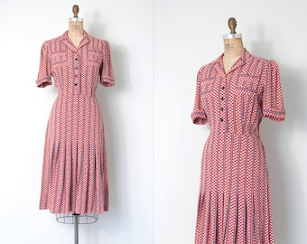 vintage 1940s dress | 40s polka dot dress | pink and navy blue  (small s)