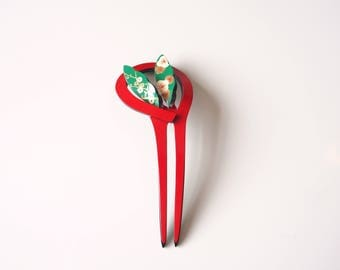 Kanzashi Hair Ornament Red Green Delicate Japanese Design