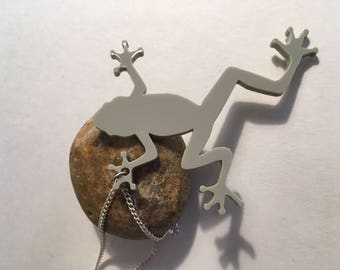 Green Tree frog laser cut necklace