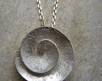 Vortex 3D Spiral Sterling Silver pendant - Textured - Ready to ship