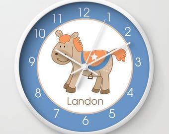 Western Horse Orange, Tan and Blue Boys Nursery Wall Clock, Personalized 10-inch Choose Frame Color