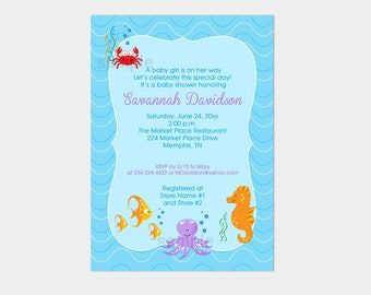 Sea Critters Under the Sea Boy or Girl Crab Seahorse Fish Baby Shower Invitation Printable Shower Invite bs-079