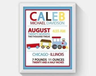 Choo Choo Train Birth Announcement Boy Baby Birth Stats, Baby Boy Birth Print