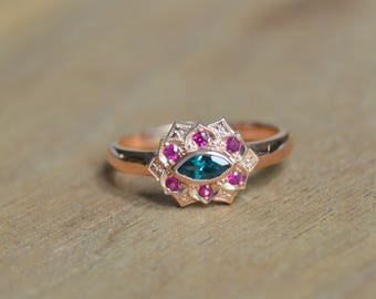 Rose Gold Ring, Color Change Garnet Ring, Petal Ring, Ruby Ring, Marquis Ring, Ring with Ruby and Garnet, 14 Kt Rose Gold Ring