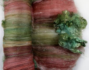 Mahogany Rose Wild Card Bling Batt for spinning and felting (4.4 ounces), batt, art batt