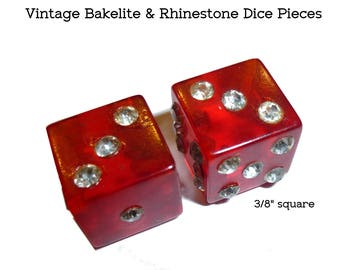 "Pair of Red Translucent Bakelite and Rhinestone Dice Pieces. Circa 1940s. 3/16"" square. Make Something Fabulous."