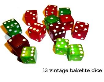 Bakelite Dice Collection: 7 Red Translucent Bakelite Dice & 6 Translucent Green Die. Great for Games and Crafting 13 Tested Vintage Bakelite