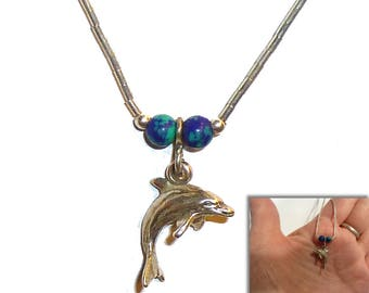 "Sterling Silver Dolphin Pendant Necklace. 15"" Liquid Silver Necklace. Perfect Gift for your Favorite Mermaid. Vintage Circa 1980s."