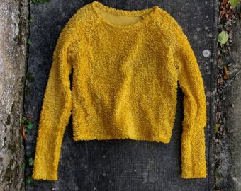Shaggy sweater jumper yellow cropped organic clothing minimalist womens pullovers hippie afghan raglan eco autumn winter sustainable ethical