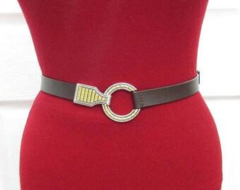 Beautiful Chico's Dark Brown Genuine Leather Adjustable Belt ML