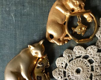 Two Gold Cat Feline Brooches
