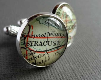 Personalised Map Cufflinks for James -  Morristown, New Jersey and Paddington, London