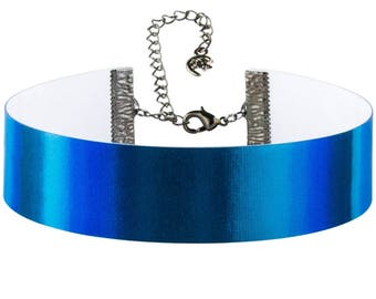 Blue Holographic Metallic Reflective Lenticular Electric Blue Royal Blue Color Changing Choker Necklace