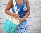 Crochet tote cotton off white aqua blue reusable tote avoska natural beach farmers market boho bohemian gift for friend summer bag book bag