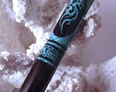 """FNS - The """"Princess Eve"""" Dragon Hair Stick Featuring African Blackwood inlaid with Teal Fresh Water Pearls"""