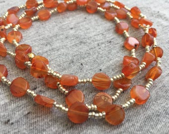 Carnelian and Gold Necklace, Unique Jewelry, Long Beaded Necklace, Carnelian Beads, Womens Jewelry, Beaded Necklaces, Carnelian Jewelry