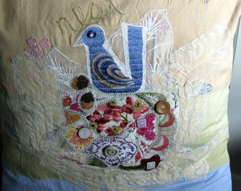 Wedding/housewarming Bluebird Nest Pillow Cover,folk art collage from repurposed  materials w/embroidery, buttons--fits 18 inch pillow form