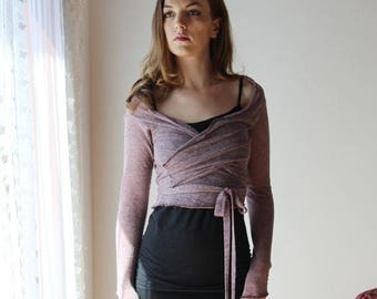 sheer linen cropped wrap with metallic sparkle in lightweight jersey - MICA lounge wear range - made to order