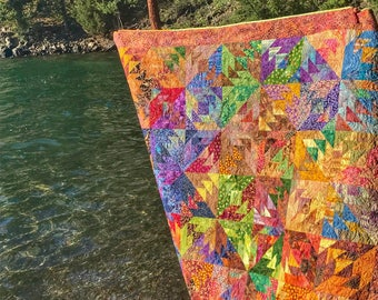 MarveLes BATIK Indian summer Pieced Quilt Multiple Bright Colors Turquoise Pink Green Yellow Orange