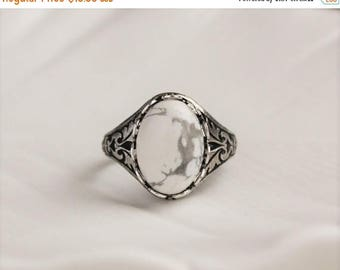 VACATION SALE- Howlite Ring