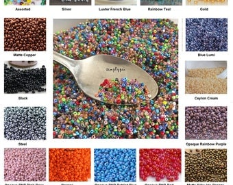 11/0 Czech Seed Beads 10-Grams Ur Pick Gold Silver Copper Bronze Teal Red Blue Pink Purple Yellow Black Cream White Satin Turqquoise Mix